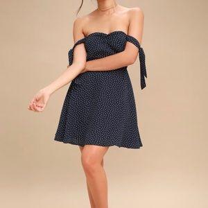 Navy Blue Print Off-the-Shoulder Skater Dress